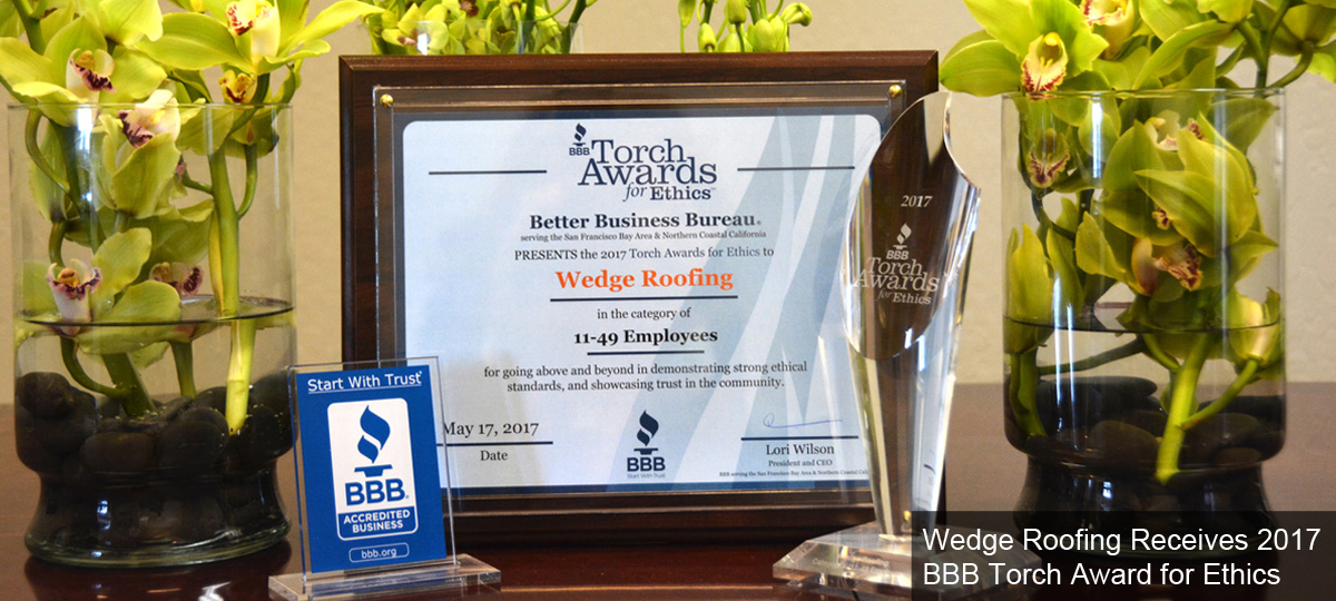 Wedge Roofing Receives 2017 BBB Torch Award for Ethics