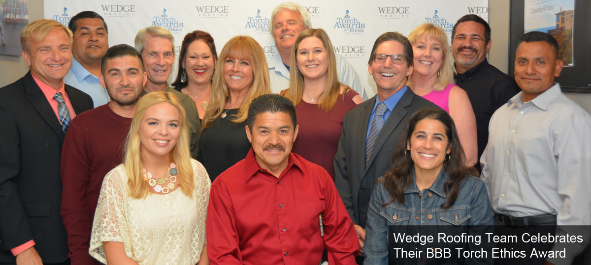 Wedge Roofing Team Celebrates Their BBB Torch Ethics Award