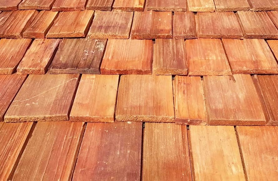 Close up view of cedar wood shingles