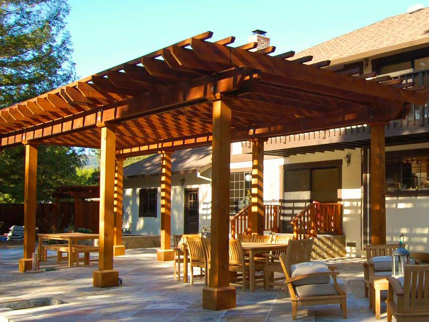 Redwood patio cover in San Francisco Bay Area