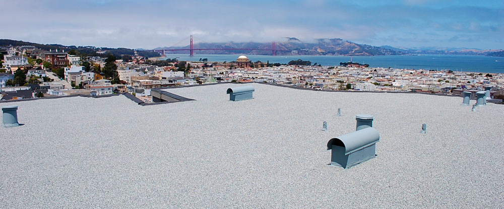 San Francisco built-up roof, flat roof