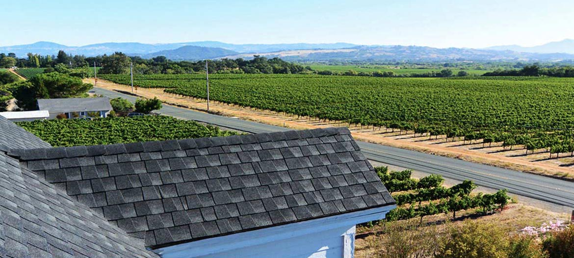 Sonoma County GAF shingle roofing contractor Wedge Roofing working on re-roofing in Healdsburg, CA