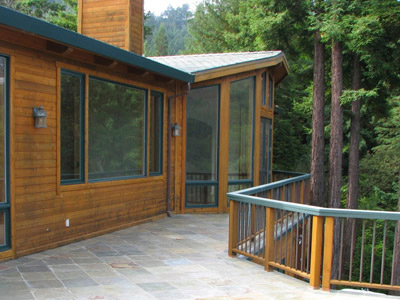 View of house and deck of Marin County home in redwoods