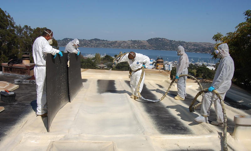 Spray foam specialists installing spray foam roof in Sausalito