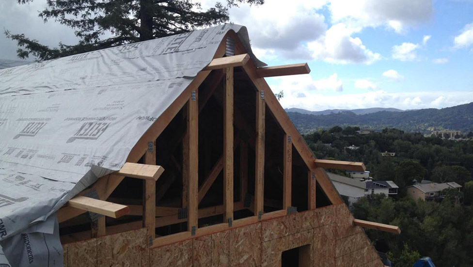 New roof construction in Sonoma County