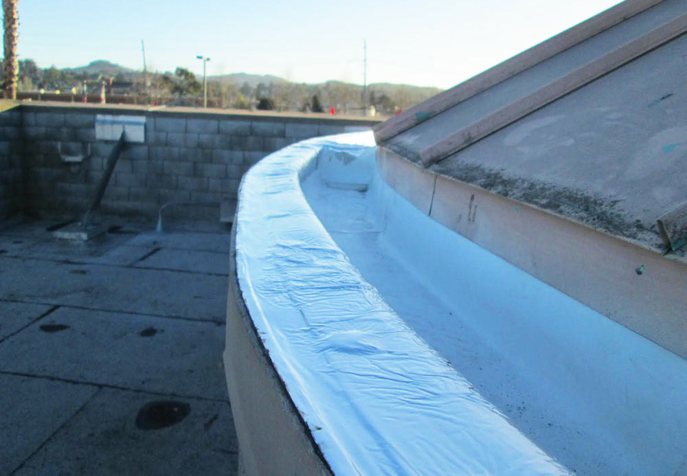 Repair to gutter on roof