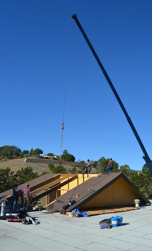 Roof truss replacement on residence in Marin County