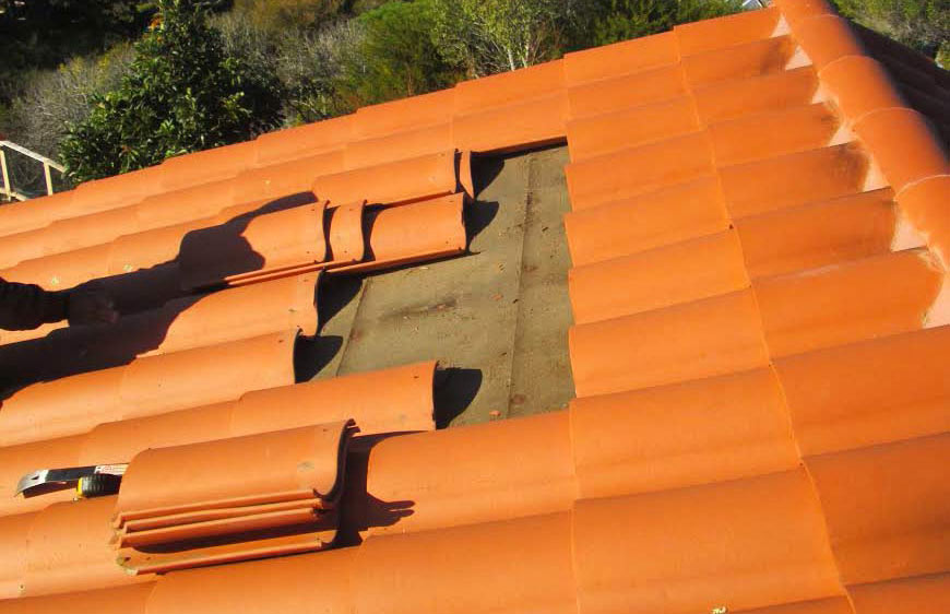 Gray concrete tile roof on Novato home in Marin County, CA