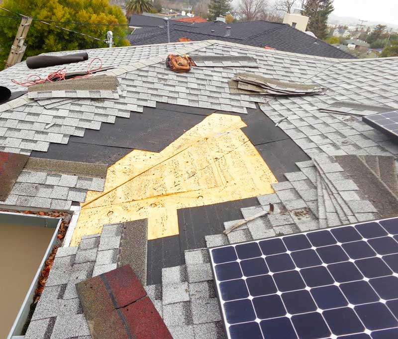 Roof repairs to composition shingle roof on home in Marin County