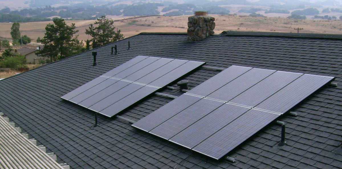 Solar panels on a Marin County roof installed by Wedge Roofing