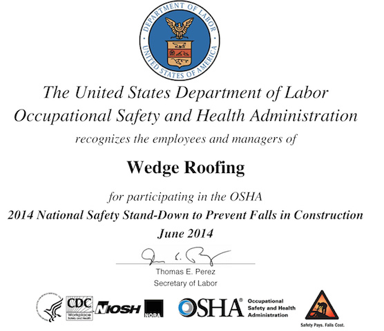 Wedge Roofing OSHA safety training 2014