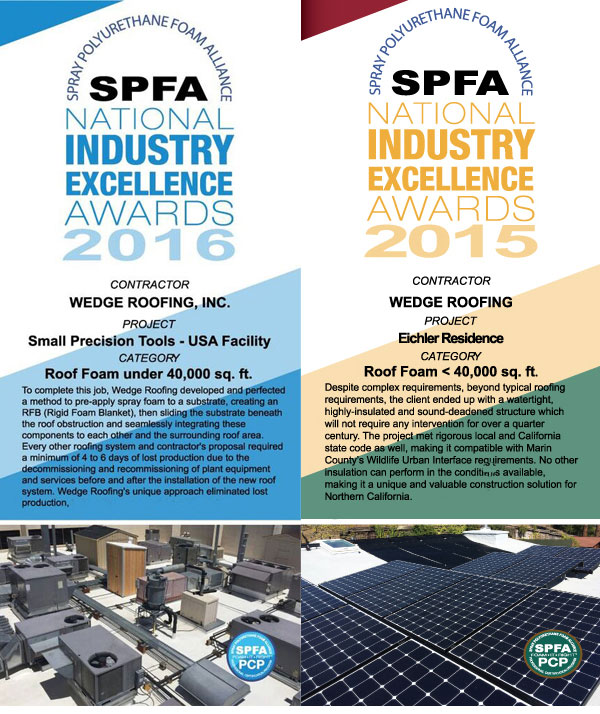 SPFA Award Spray Foam Roofing Award Marin County, Sonoma County