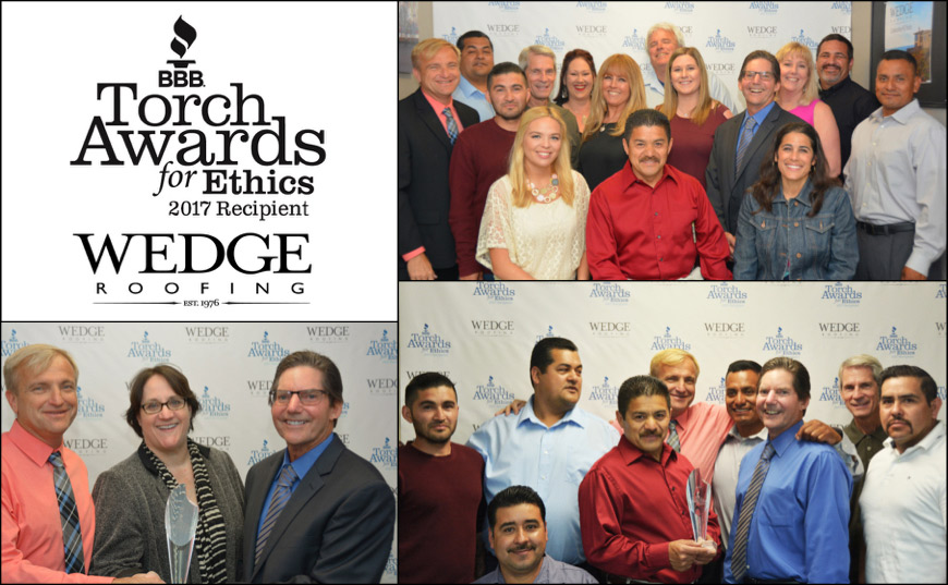 BBB Torch Ethics Award Wedge Roofing SF, Marin, Sonoma