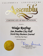 California Legislative Award to Marin County Roofing Contractor Wedge Roofing