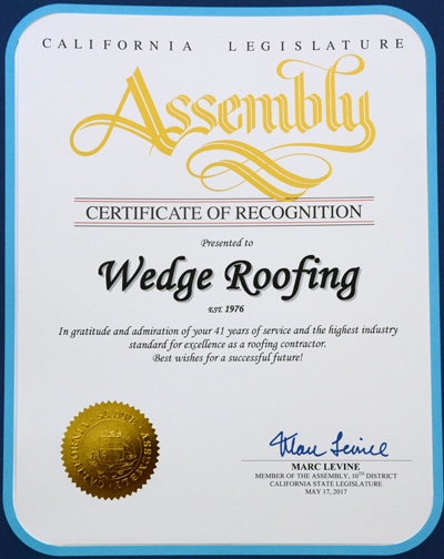 California Legislature Assembly Recognition to Wedge Roofing