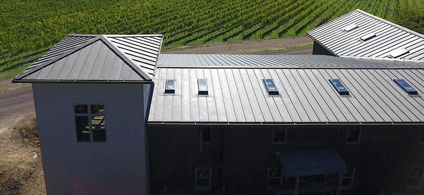bonderized standing seam metal roof sonoma napa winery