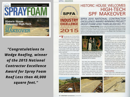 San Francisco Spray Foam Roofing Contractor Awarded National Excellence Award