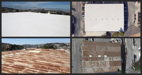 30,000 Square Foot Spray Foam Roof Over Metal Roof San Francisco, CA