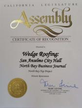 Marin County roofing recognition to Wedge Roofing