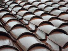 Tile roof after the rain.