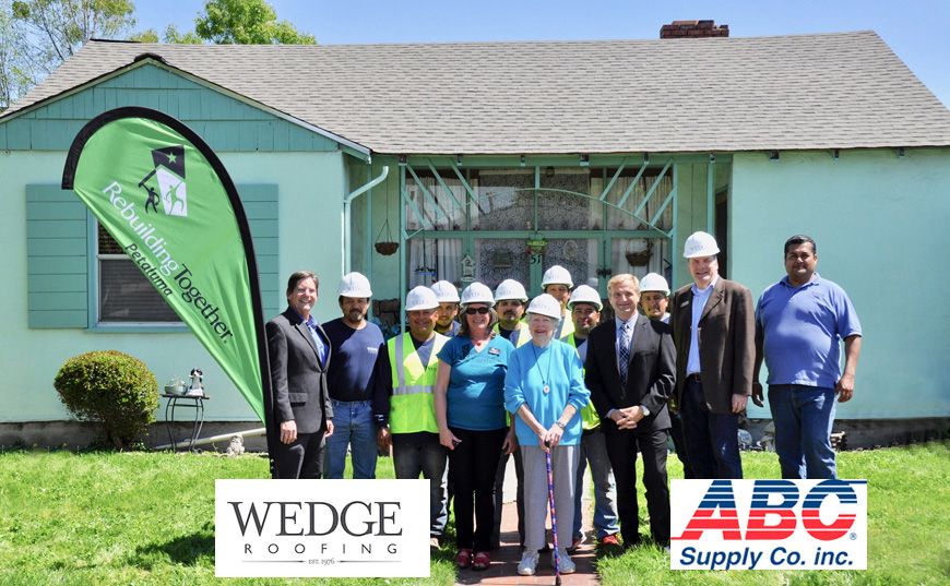 Rebuilding Together, Wedge Roofing and ABC Supply.
